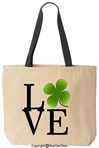 Love Clover St Patrick's Day Irish Leprechaun Tote Gift by BeeGeeTees®