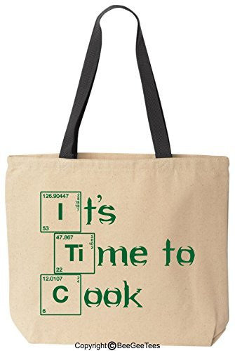 It's Time To Cook Breaking Bad Funny Canvas Tote Reusable Bag by BeeGeeTees