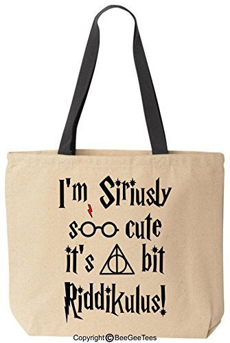 I'm Siriusly Soo Cute It's A Bit Riddikulus Funny Harry Potter Canvas Tote Bag by BeeGeeTees®