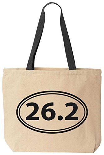 26.2 Full Marathon - Reusabe Tote Bag Black Handle by BeeGeeTees