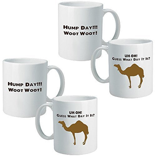 (Set of 2) Camel Hump Day Mug Mid-Week Guess What Day It Is Wednesday BeeGeeTees®