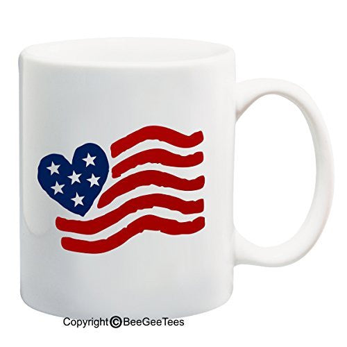 Red White and Blue USA Heart Flag - 11 or 15 oz Patriotic Mug by BeeGeeTees 00740