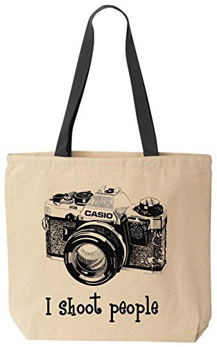 I shoot people Casio Novelty Camera Photography Funny Cotton Canvas Tote Bag BeeGeeTees