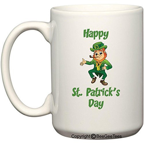 Happy St Patrick's Day Leprechaun Funny Coffee Mug Gift by BeeGeeTees®