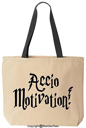 Accio Motivation Funny Harry Potter Reusable Canvas Tote Bag by BeeGeeTees® (Black Handle)