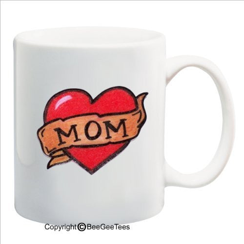 Mom Heart Love - Happy Birthday or Mothers Day 15 oz Mug by BeeGeeTees 09209