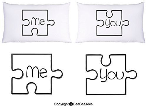 Me and You Puzzle Pieces Couple Pillowcases Valentines Day Gift by BeeGeeTees®