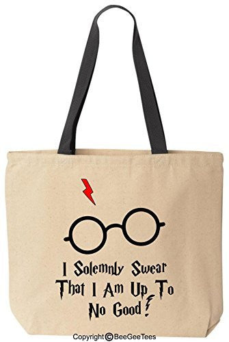 I Solemnly Swear That I Am Up To No Good Funny Harry Potter Canvas Tote Bag by BeeGeeTees®