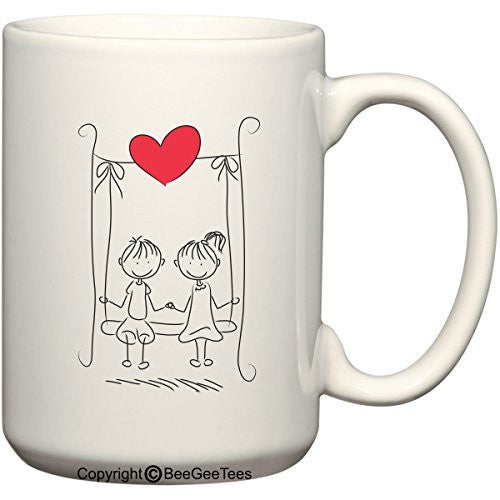 """Swinging In Love"" Valentines Day Coffee Mug by BeeGeeTees®"