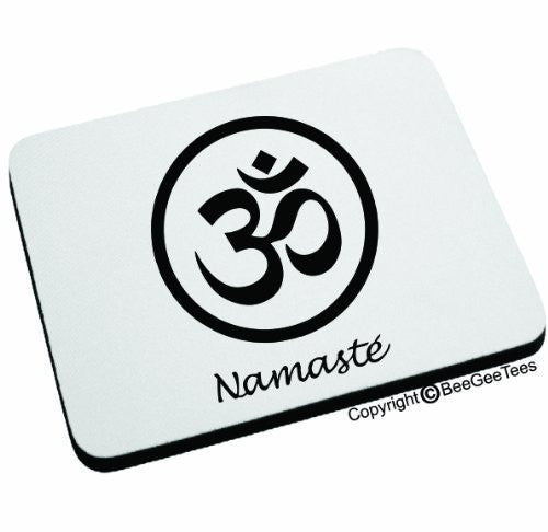 NAMASTE Mouse Pad. Happy Birthday Yoga Gift by BeeGeeTees 06439