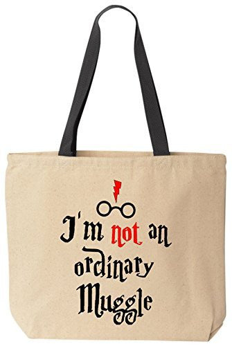 I'm NOT an Ordinary Muggle - Funny Cotton Canvas Tote Wizard Bag - Reusable by BeeGeeTees
