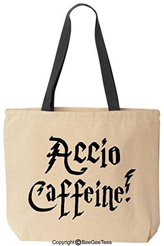 Accio Caffeine Funny Harry Potter Reusable Canvas Tote Bag by BeeGeeTees® (Black Handle)
