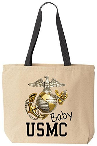 USMC Baby Reusabe Tote Bag Black Handle by BeeGeeTees®