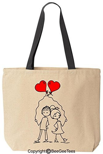 Entangled Hearts In Love Tote Valentines Day Gift Reusable Canvas Bag by BeeGeeTees®