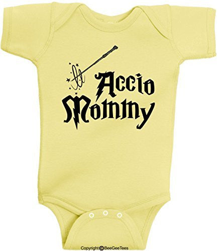 Accio Mommy Funny Harry Potter Baby Onesie by BeeGeeTees® (Unisex-Baby)
