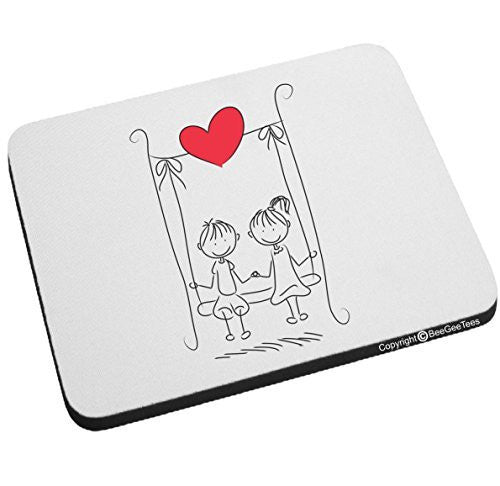 """Swinging In Love"" Mouse Pad - Valentines Day Gift by BeeGeeTees®"