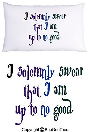 I Solemnly Swear That I Am Up To No Good Harry Potter Pillowcase by BeeGeeTees® (1 Queen Pillowcase)