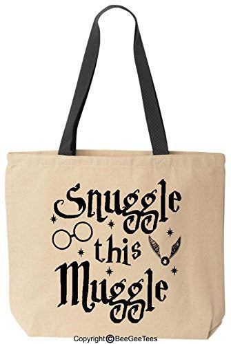 Snuggle This Muggle Funny Harry Potter Reusable Canvas Tote Bag by BeeGeeTees® (Black Handle)