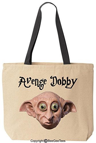 Avenge Dobby Funny Harry Potter Reusable Canvas Tote Bag by BeeGeeTees® (Black Handle)