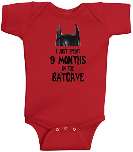 I Just Spent 9 Months In The Batcave Funny Batman Romper Onesie by BeeGeeTees®