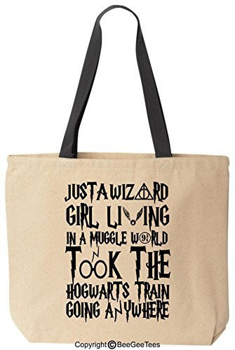 Just A Wizard Girl Harry Potter Funny Reusabe Tote Bag Black Handle by BeeGeeTees®