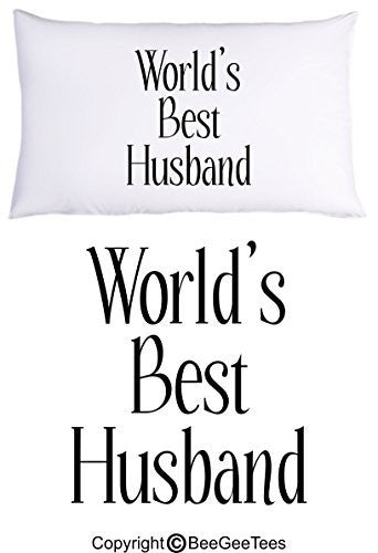 """World's Best Husband"" Pillowcase Valentines Day Gift by BeeGeeTees® (1 Queen Pillowcase)"