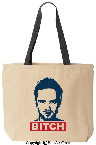 BITCH - Funny Jesse Cotton Canvas Tote Breaking Bad Bag - Reusable by BeeGeeTees 01132