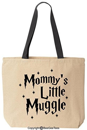 Mommy's Little Muggle Funny Harry Potter Reusable Canvas Tote Bag by BeeGeeTees® (Black Handle)