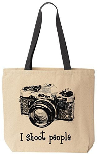 I shoot people (Nikon) Camera Photography Canvas Tote Bag (Black Handle) by BeeGeeTees