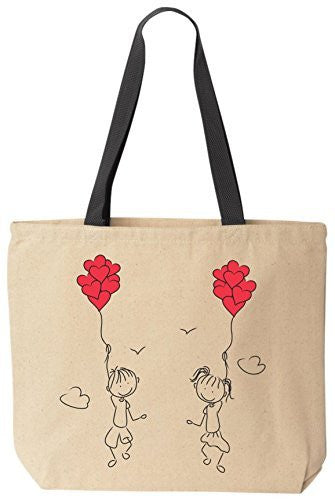 Let's Fly Away Together In Love Tote Valentines Day Reusable Canvas Bag by BeeGeeTees®