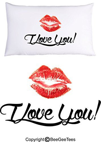 I Love You Lips Pillowcase Valentines Day Birthday Gift by BeeGeeTees® (1 Queen Pillowcase)