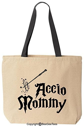 Accio Mommy Funny Harry Potter Reusable Canvas Tote Bag by BeeGeeTees® (Black Handle)