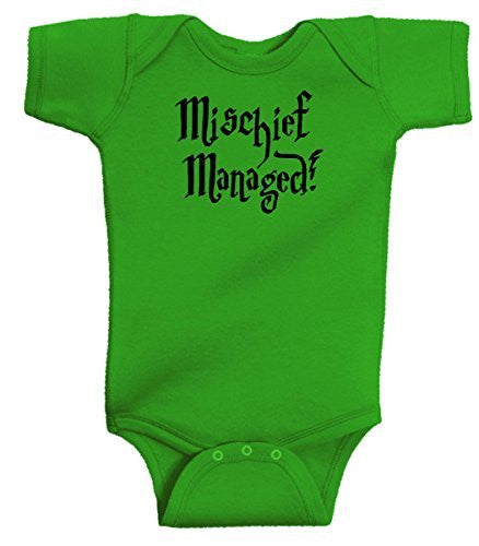 359570d93 Mischief Managed Funny Harry Potter Baby Wizard Onesie Apple Green by  BeeGeeTees