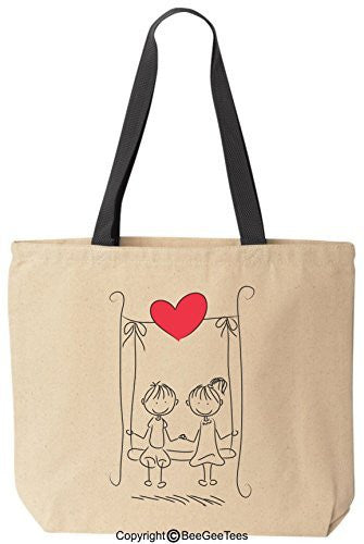 """Swinging In Love"" Tote - Valentines Day Gift or Wedding Gift by BeeGeeTees®"