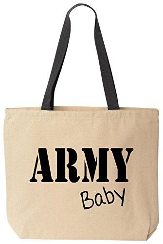 BeeGeeTees ARMY Baby Reusabe Tote Bag Black Handle
