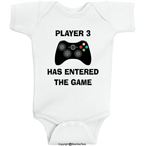 Player 3 Has Entered The Game Funny Baby Onesie by BeeGeeTees® (Boys and Girls)