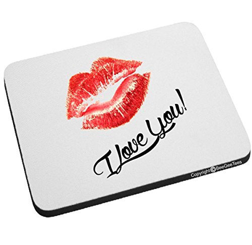 I Love You Lips Mouse Pad Valentines Day Birthday Gift by BeeGeeTees