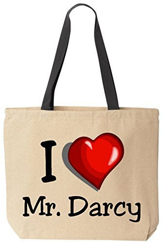 I Love Mr. Darcy - Jane Austen - Funny Canvas Tote Reusable Bag by BeeGeeTees