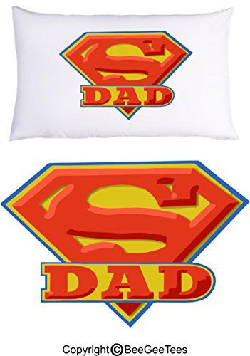 Super Dad Pillowcase Fathers Day Birthday Gift by BeeGeeTees® (1 Queen Pillowcase)