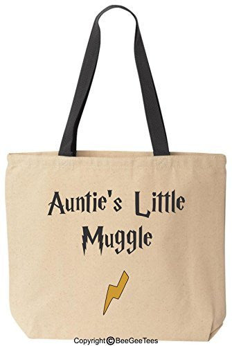 Auntie's Little Muggle Funny Harry Potter Reusable Canvas Tote Bag by BeeGeeTees® (Black Handle)