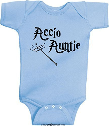 Accio Auntie Funny Harry Potter Baby Onesie by BeeGeeTees® (Unisex-Baby)