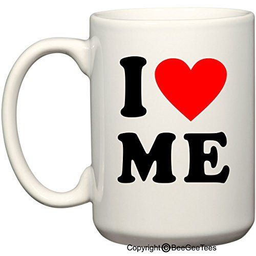 I love Me Heart Coffee Mug Valentines Day Gift by BeeGeeTees® (15 oz)