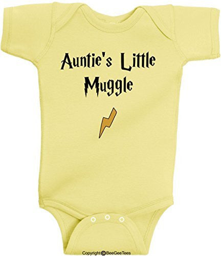 Auntie's Little Muggle Funny Harry Potter Baby Romper Wizard Onesie by BeeGeeTees®