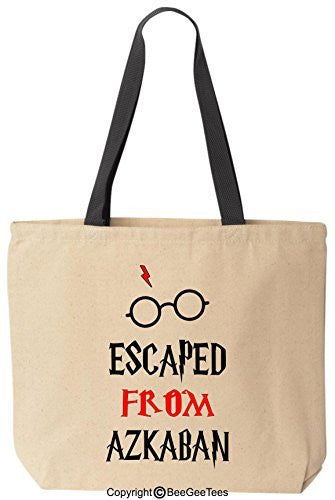 Escaped From Azkaban Funny Harry Potter Reusable Canvas Tote Bag by BeeGeeTees® (Black Handle)