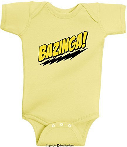 Bazinga Funny Romper Onesie Soft Baby Bodysuit Big Bang Theory by BeeGeeTees®