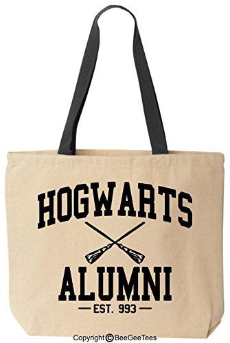 Hogwarts Alumni Funny Harry Potter Reusable Canvas Tote Bag by BeeGeeTees® (Black Handle)
