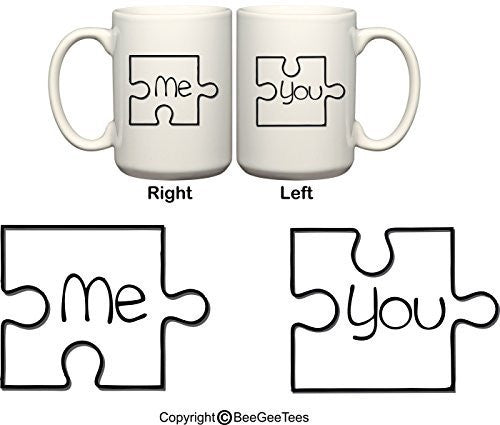 Me and You Puzzle Pieces His & Hers Valentines Day Coffee Mugs by BeeGeeTees®