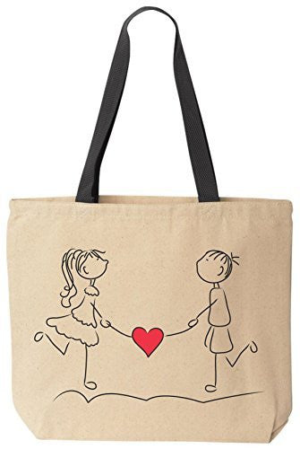 Walking Hearts Tote Valentines Day Gift Reusable Canvas Bag by BeeGeeTees®
