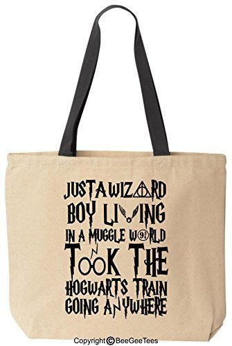 Just A Wizard Boy Funny Harry Potter Reusable Canvas Tote Bag by BeeGeeTees® (Black Handle)