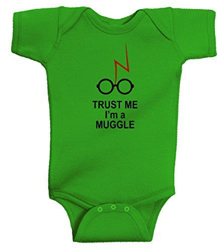 661b129684e8 Trust Me I m A Muggle Funny Harry Potter Romper Wizard Onesie by BeeGeeTees®